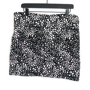 H&M Black & Cream Speckled Stretch Mini Skirt